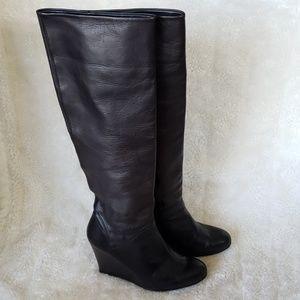 Stuart Weitzman high knee Wedge leather boots